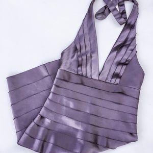Bcbgmaxazria lavender halter satin cocktail dress